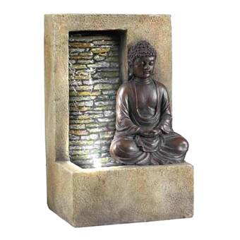 Hi Line Gift Ltd Fiber And Resin Golden Buddha Fountain With Led