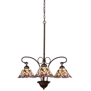 Victorian Daffodil Bell 3-Light Shaded Chandelier by Meyda Tiffany