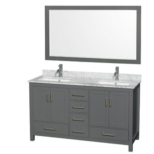Compare prices Sheffield 60 Double Bathroom Vanity Set with Mirror By Wyndham Collection