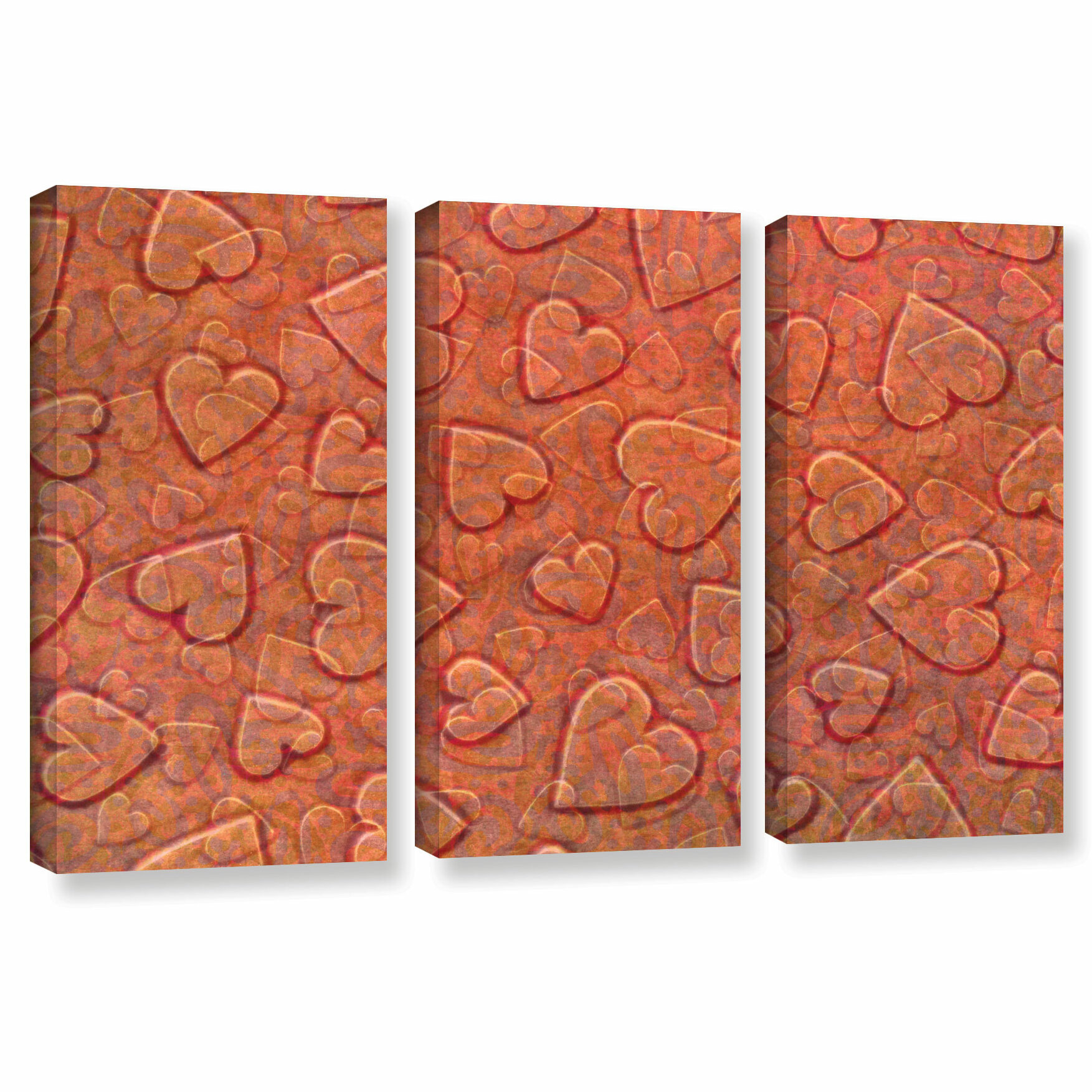 Isabelle Max Lenny Large Heart Mixed Pattern 3 Piece Canvas Art Wayfair