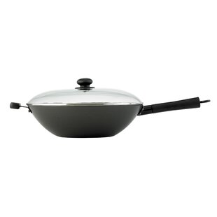 Helen's Asian Kitchen 3 Piece 14 Non-Stick Excalibur Wok Set with Lid By HAROLD IMPORT COMPANY