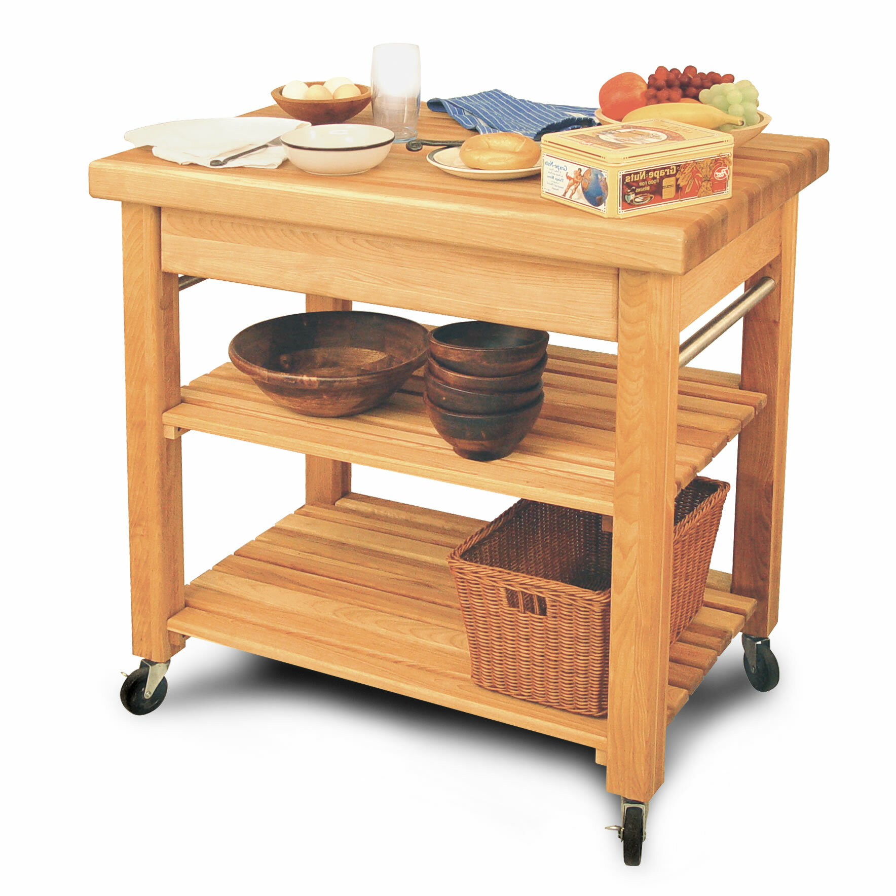 Catskill Craftsmen French Country Kitchen Island With Butcher Block Top U0026  Reviews | Wayfair