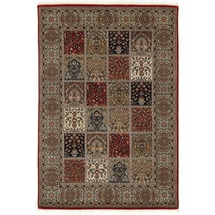 Hand Knotted Red/Cream Rug by Hazelwood Home