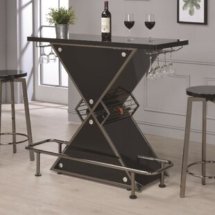 Bretz X-Shaped Bar with Wine Storage by Ebern Designs
