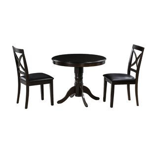 Tiffany 3 Piece Solid Wood Dining Set by Alcott Hill Bargain