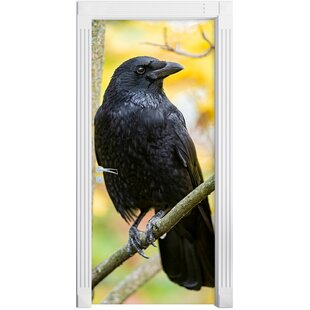 Black Raven On A Branch Door Sticker By East Urban Home
