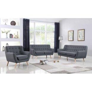Zaragoza Mid-Century 3 Piece Living Room Set