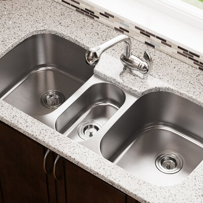 Medium image of stainless steel 43   x 21   triple basin undermount kitchen sink