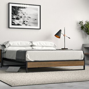 Parthenia Metal and Wood Platform Bed