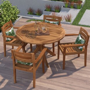 Mistana Kaylie Wood 5 Piece Dining Set