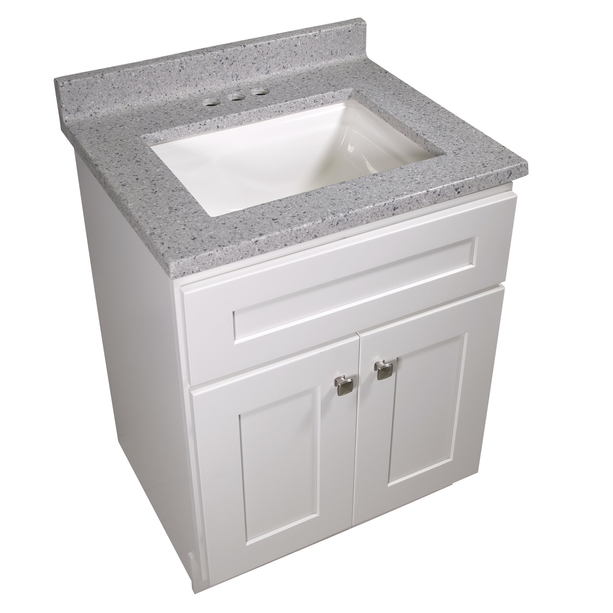 Design House 25 In W Cultured Marble Vanity Top In Moonscape Grey With Solid White Basin And 4 In Faucet Spread Wayfair