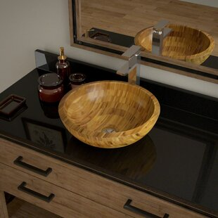 Top Reviews Bamboo Circular Vessel Bathroom Sink with Faucet ByMR Direct