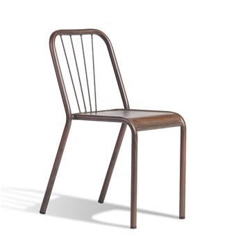 Williston Forge Meriam Metal Slat Back Stacking Side Chair In Golden Black Wayfair