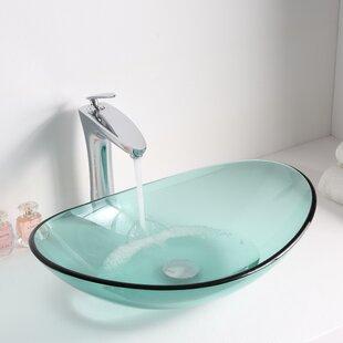ANZZI Major Glass Oval Vessel Bathroom Sink