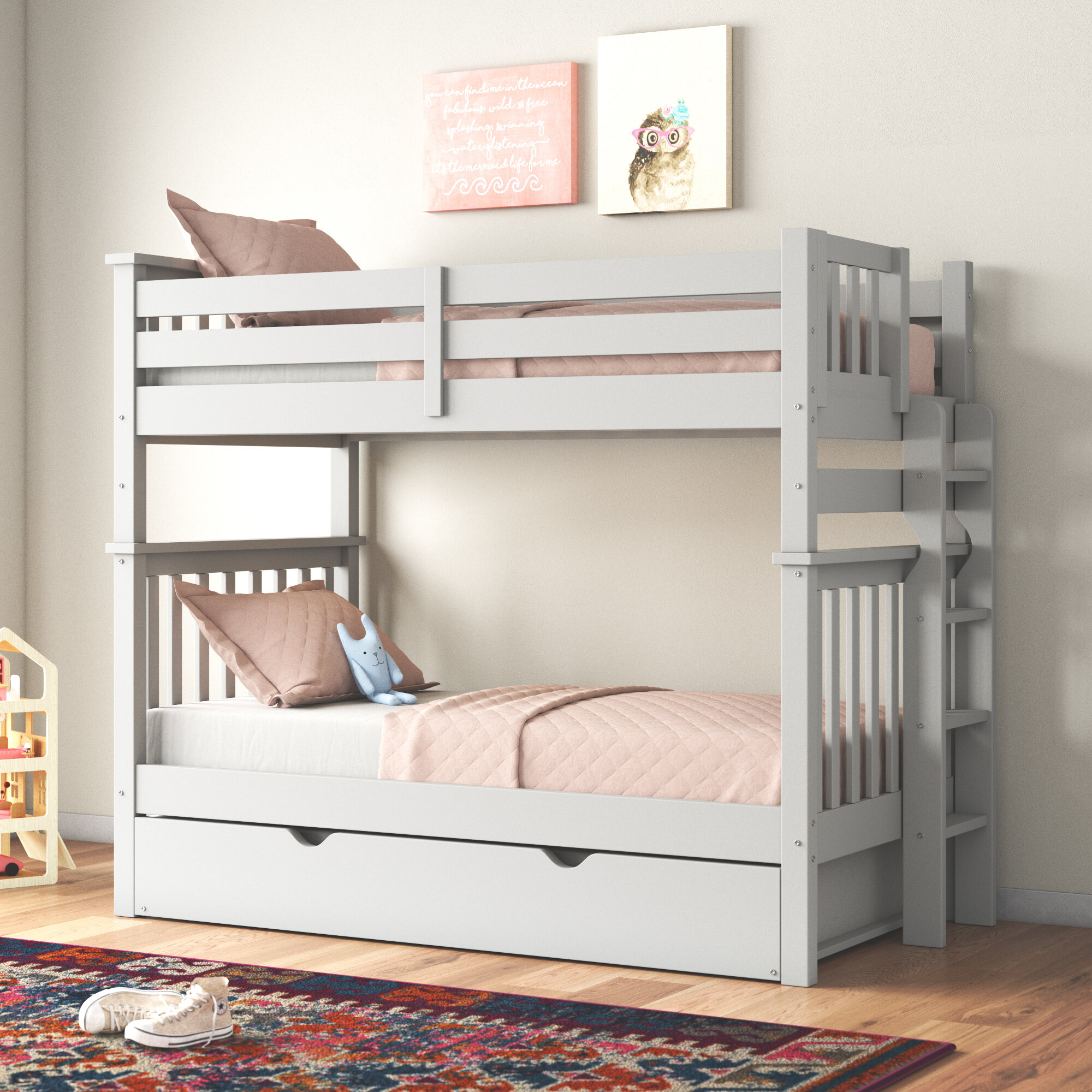 Harriet Bee Treva Tall Twin Over Twin Bunk Bed With Trundle Reviews Wayfair