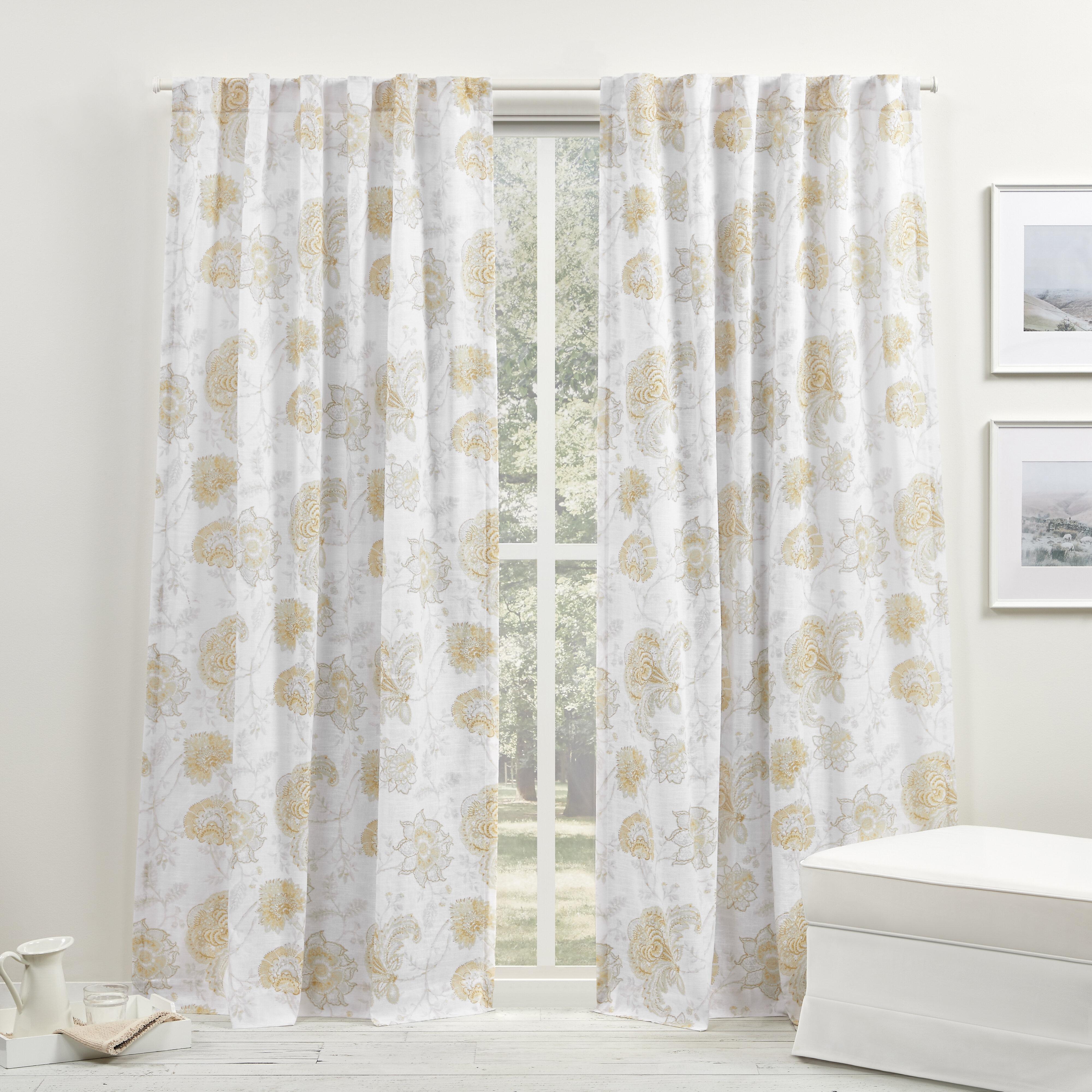 Lauren 100 Cotton Floral Semi Sheer Rod Pocket Single Curtain Panel Birch Lane