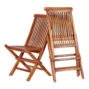 Rockson Folding Teak Patio Dining Chair (Set of 2)