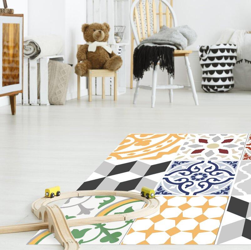 boholiving vinyl teppich migina in gelb grau rot. Black Bedroom Furniture Sets. Home Design Ideas