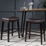 Nobhill Studded Leather Saddle 30.5 Bar Stool (Set of 2) by Winston Porter
