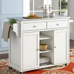 Brecht Kitchen Cart with Stainless Steel Top Alcott Hill