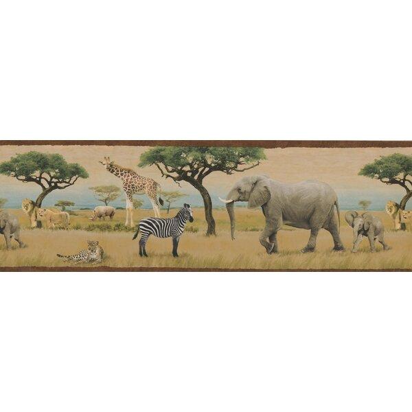 Elephant Tiger Safari Animals Jungle Palm Leaf Green Wallpaper Border
