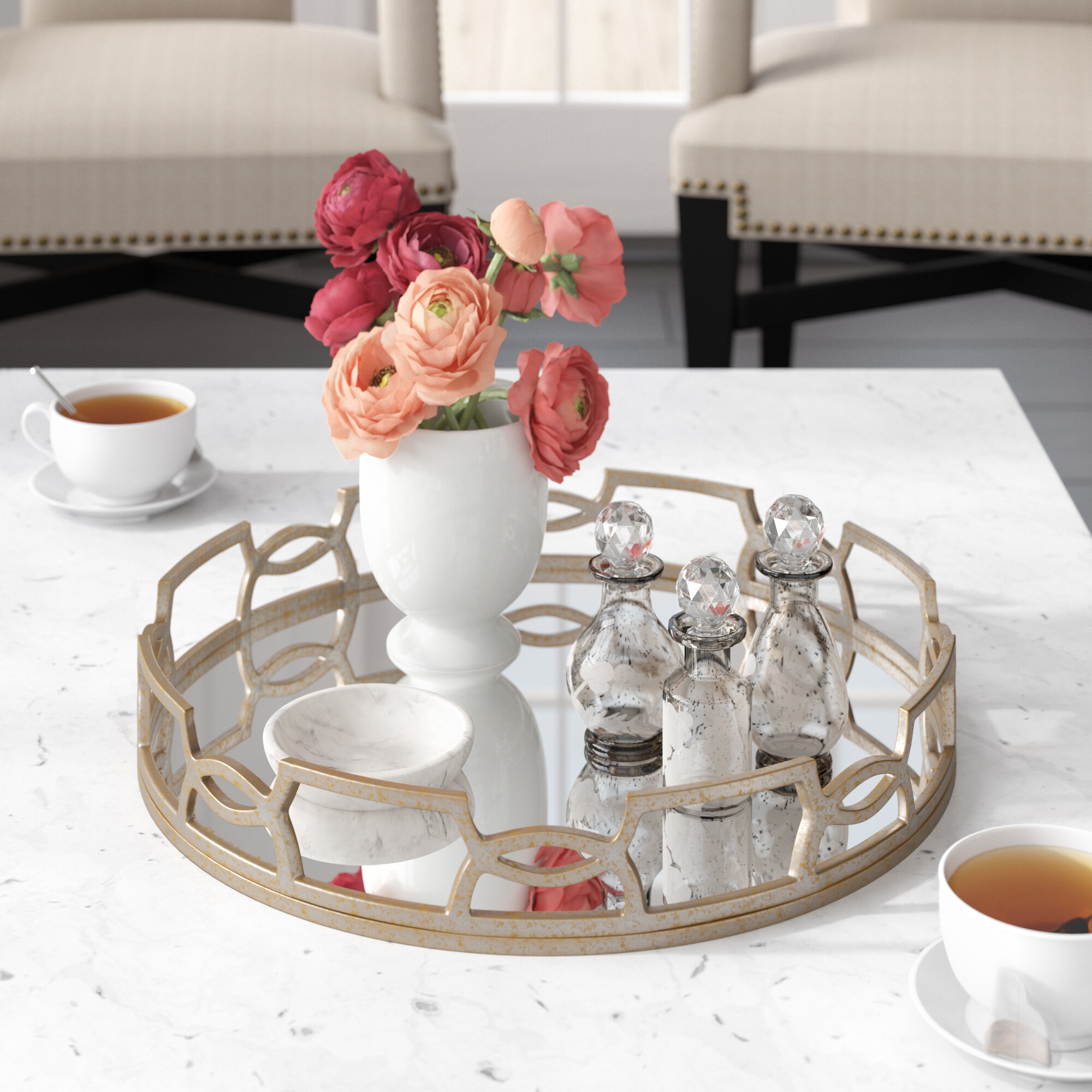 Lainey Round Accent Mirrored Tray