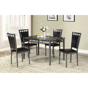 Ebern Designs Chittening Marble And Metal 5 Piece Dining Set