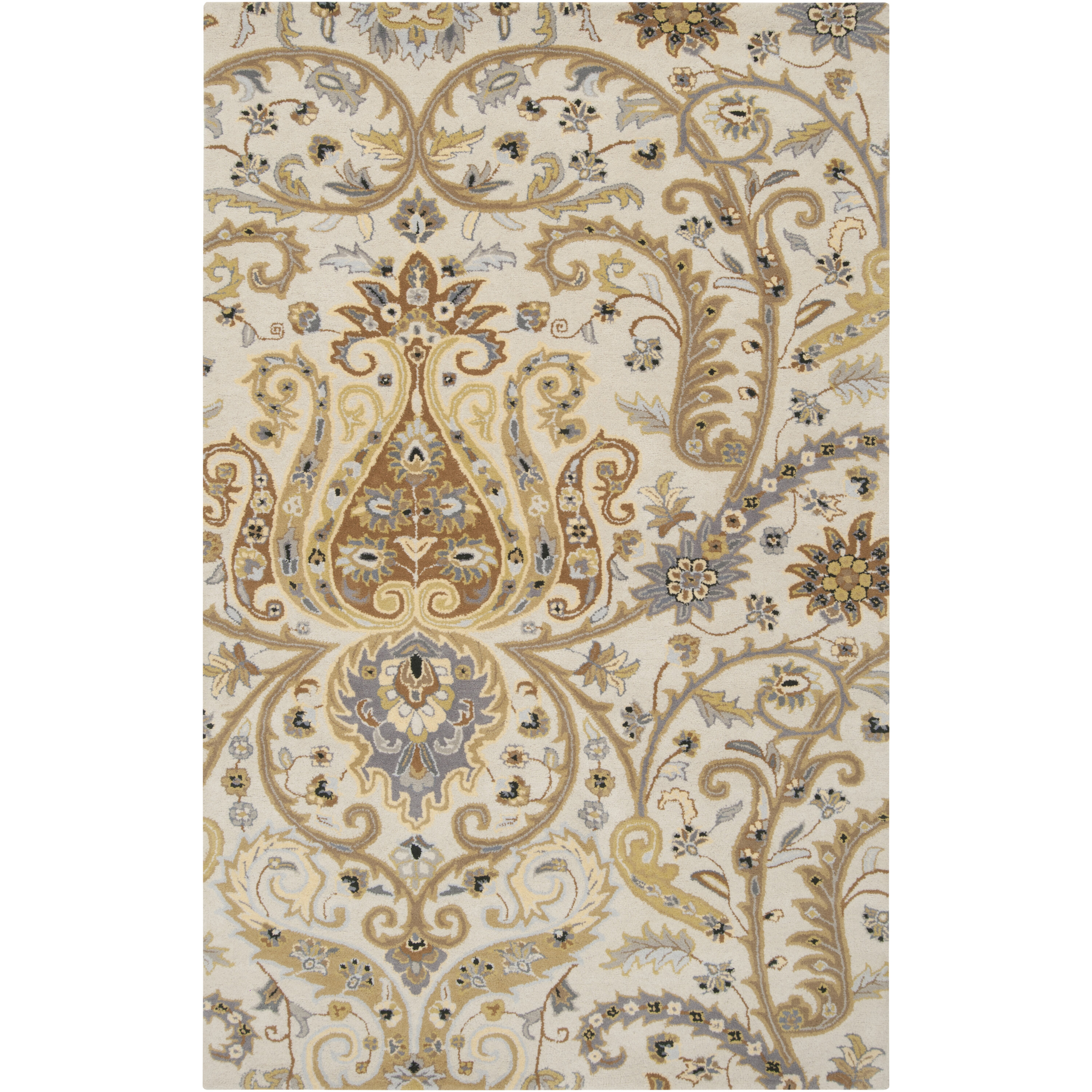 Surya Ancient Treasures Floral Hand Tufted Wool Beige Area Rug Reviews Perigold