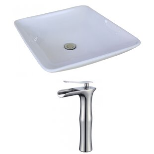 Affordable Price Ceramic Square Vessel Bathroom Sink with Faucet and Overflow By American Imaginations