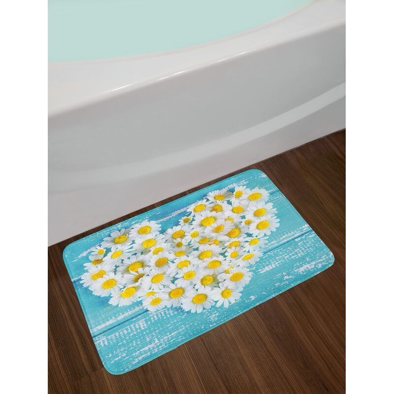Heart Shaped Daisy Bath Rug