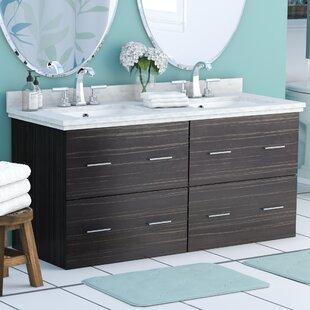 Phoebe Drilling Wall Mount 48 inch  Rectangle Double Bathroom Vanity Set