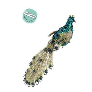Regal Peacock Glitter Sequin and Bead Clip-On Peacock Christmas Ornament