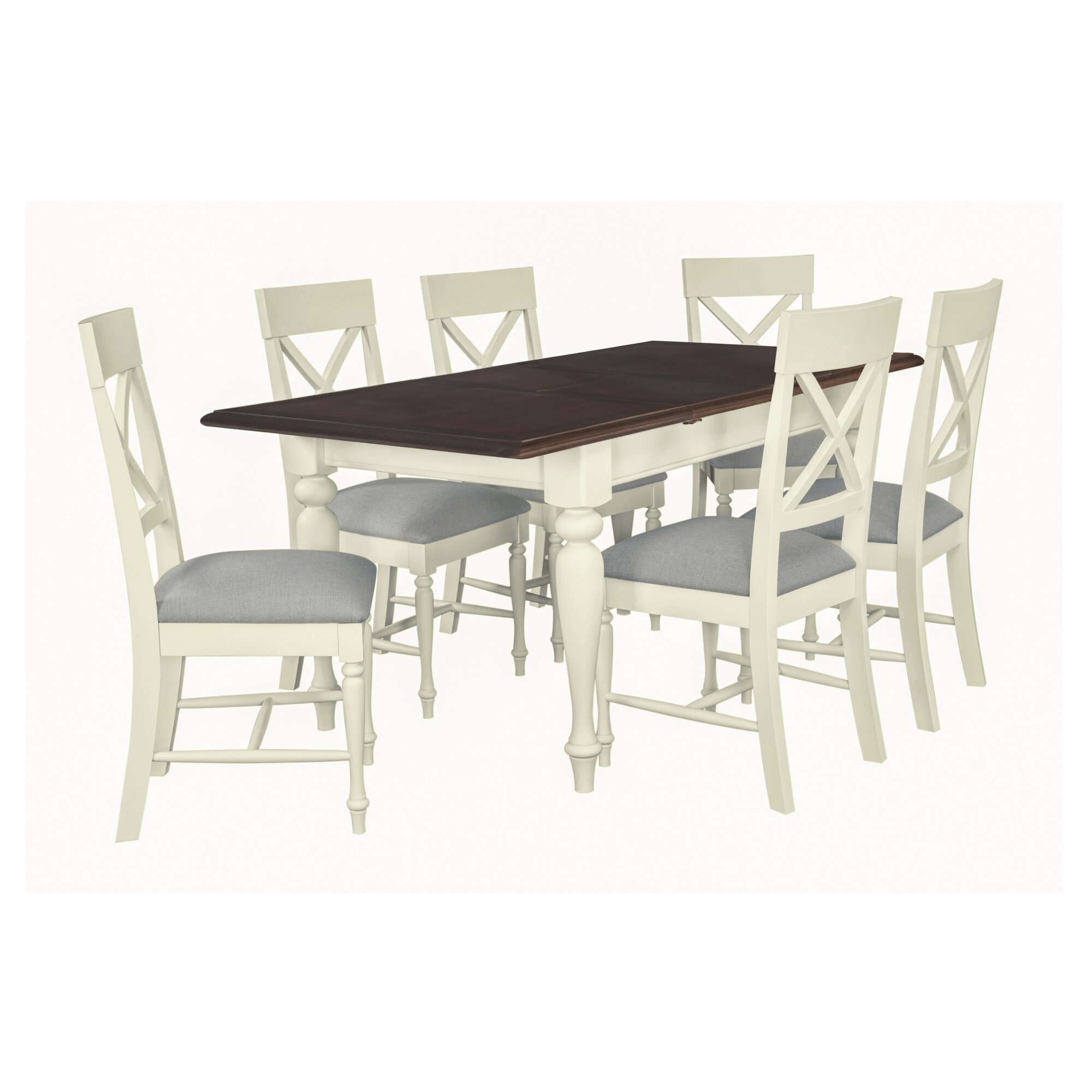 August Grove Orlo Extendable Dining Set With 6 Chairs Wayfair Co Uk