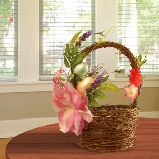 Wicker easter baskets wayfair tulips and eggs easter basket floral arrangements negle Choice Image