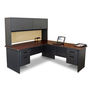 Crivello Pedestal L-Shape Executive Desk with Hutch