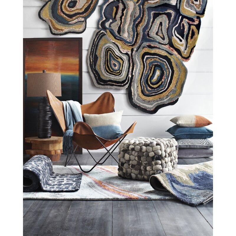 Surya Gemini Abstract Handmade Tufted Blue Beige Area Rug Reviews Wayfair