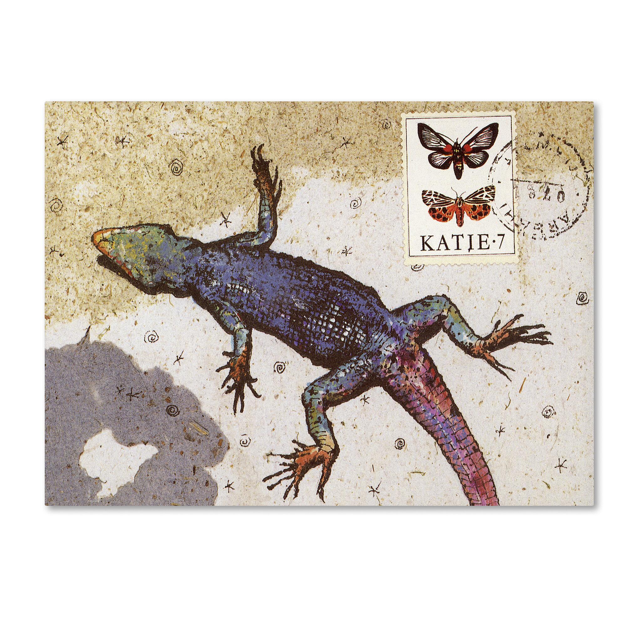 Trademark Art Rainbow Lizard By Nick Bantock Graphic Art On Wrapped Canvas Wayfair