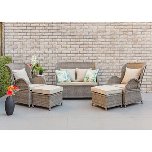 Mcneill 5 Piece Rattan Sectional Seating Group with Cushions by Rosecliff Heights