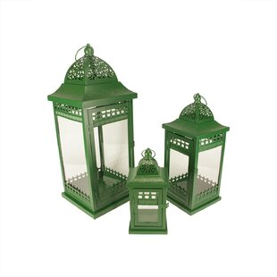 Bloomsbury Market Ornate Pillar 3 Piece Metal/Glass Lantern Set