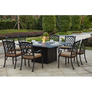 Waconia 9 Piece Metal Frame Dining Set with Cushions