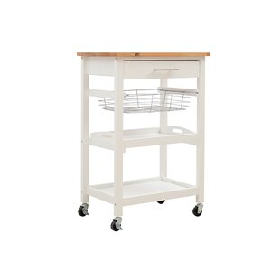 Greber Kitchen Trolley With Solid Wood Top By Lily Manor