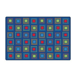 Shop For Primary Squares Blue Seating Area Rug By Carpets for Kids Premium Collection