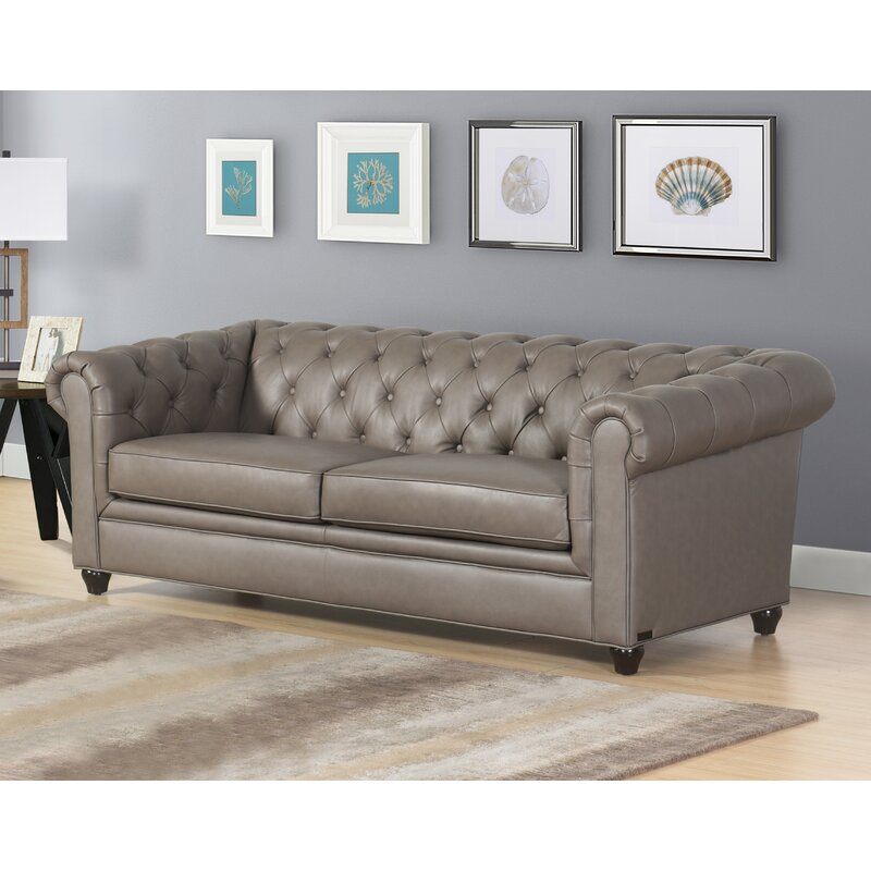 Andria 2 Piece Leather Chesterfield Living Room Set