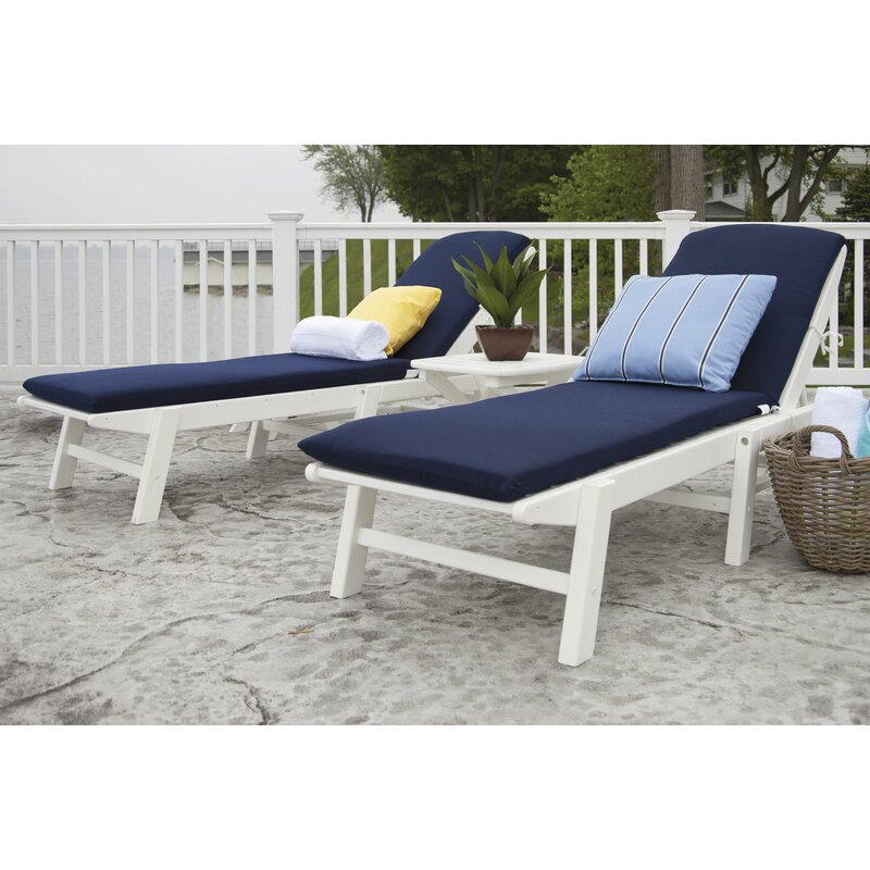 Nautical Reclining Chaise Lounges Set