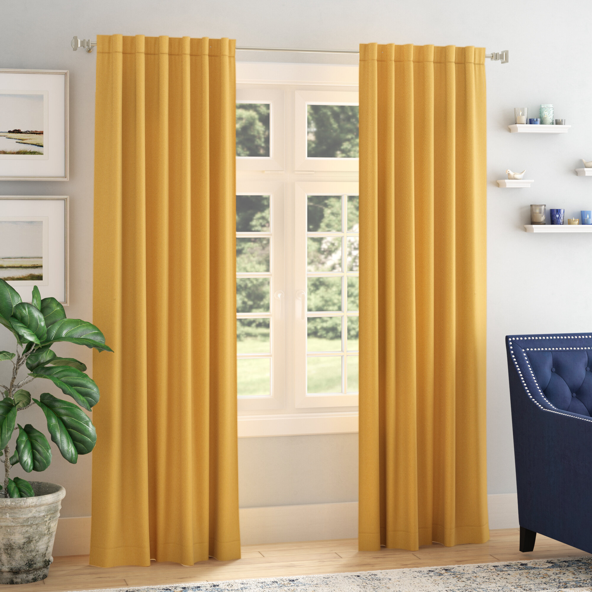 Darby Home Co Destinie Indoor Solid Color Blackout Curtain Rod Pocket Panel Pair Reviews Wayfair