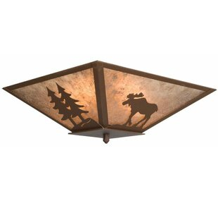 Steel Partners Moose with Trees 2-Light Flush Mount