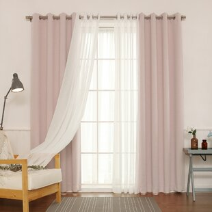 Brunilda Traditional Solid Sheer Thermal Grommet Curtain Panels (Set of 2) by Willa Arlo Interiors