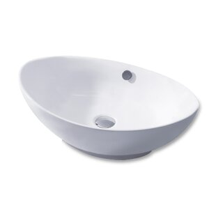 Buy clear L-004 Bathroom Egg Ceramic Oval Vessel Bathroom Sink with Overflow By Luxier