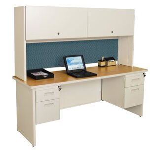 Crivello Flipper Door Cabinet and Drawer Computer Desk with Hutch