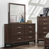6 Drawer Double Dresser with Mirror by United Furniture Import & Export